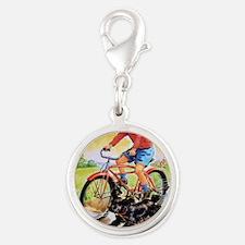 Vintage Bike Boy Silver Round Charm