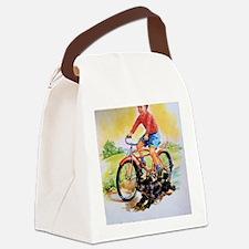Vintage Bike Boy Canvas Lunch Bag