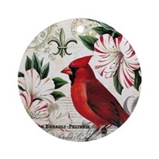 Vintage French Christmas cardinal Round Ornament