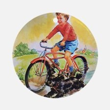 Vintage Bike Boy Round Ornament
