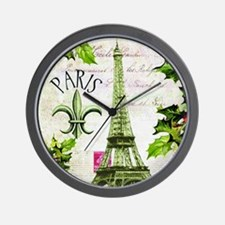 Vintage French Christmas in Paris Wall Clock