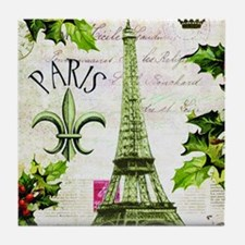 Vintage French Christmas in Paris Tile Coaster