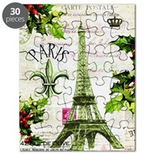 Vintage French Christmas in Paris Puzzle