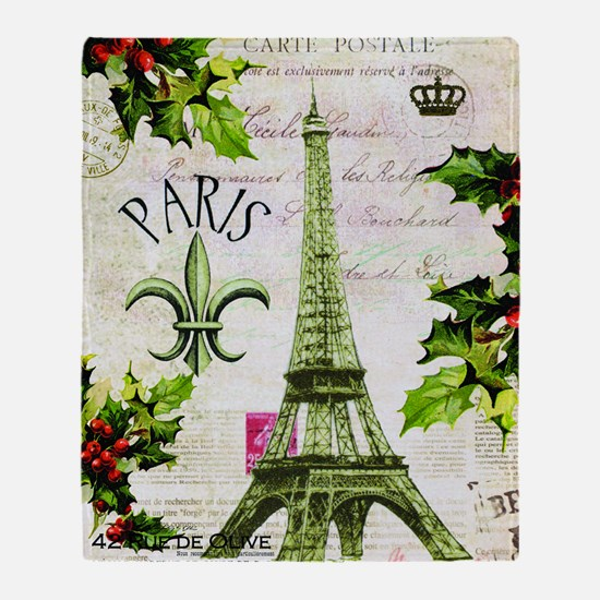 Vintage French Christmas in Paris Throw Blanket