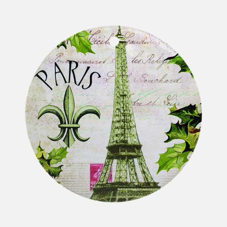 Vintage French Christmas in Paris Round Ornament