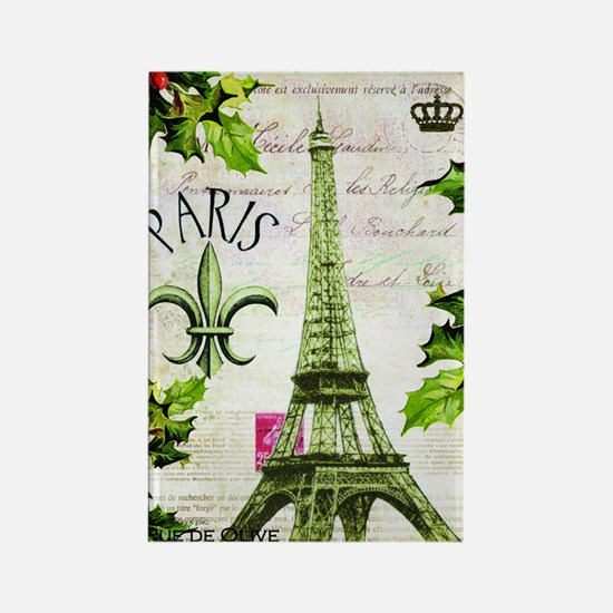 Vintage French Christmas in Paris Rectangle Magnet