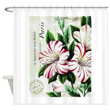 Vintage French Christmas amaryllis Shower Curtain