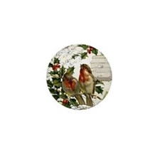 Vintage French Christmas birds and bir Mini Button