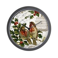 Vintage French Christmas birds and bird Wall Clock