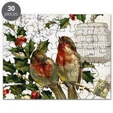 Vintage French Christmas birds and birdcage Puzzle