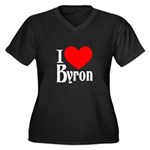 I Love Byron Women's Plus Size V-Neck Dark T-Shirt