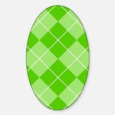 Green Argyle Pattern Sticker (Oval)