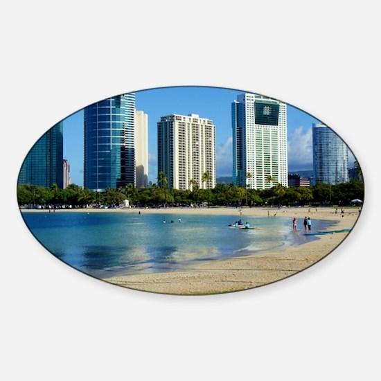 Honolulu @ Ala Moana Beach Sticker (Oval)