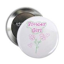 Pink Flowers Flower Girl Button