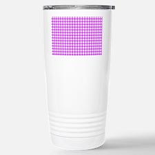 Pink Gingham Pattern Travel Mug