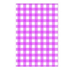 Pink Gingham Pattern Postcards (Package of 8)