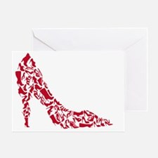 shoe silhouette with different shoes Greeting Card