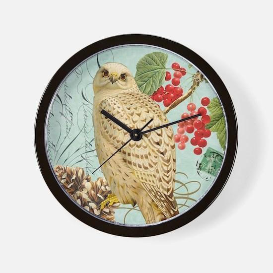Vintage winter garden white owl Wall Clock