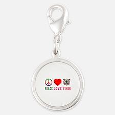 Peace Love Yemen Silver Round Charm