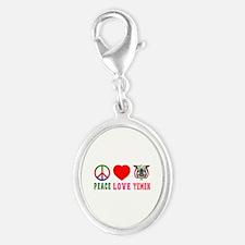 Peace Love Yemen Silver Oval Charm