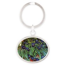 Irises by van Gogh Vintage Post Impr Oval Keychain