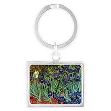 Irises by van Gogh Vintage Post Landscape Keychain