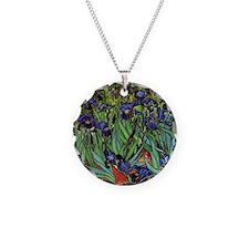 Irises by van Gogh Vintage P Necklace Circle Charm
