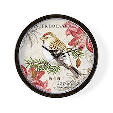 modern vintage winter garden bird and a Wall Clock