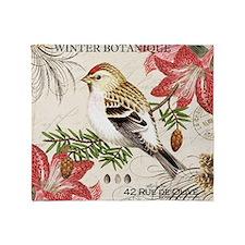 modern vintage winter garden bird an Throw Blanket