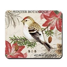 modern vintage winter garden bird and am Mousepad