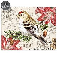 modern vintage winter garden bird and amary Puzzle
