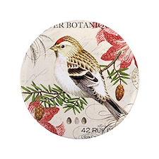 """modern vintage winter garden bird and  3.5"""" Button"""
