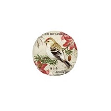 modern vintage winter garden bird and  Mini Button