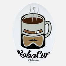 Funny Robo Cup Oval Ornament