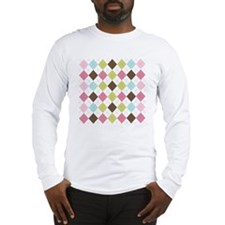 Pastel  Brown Argyle Long Sleeve T-Shirt