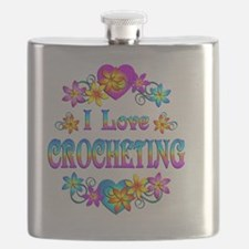 I Love Crocheting Flask