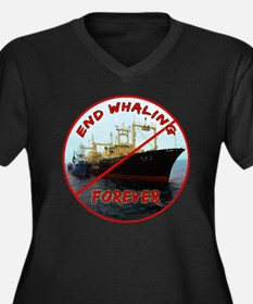 End Whaling  Women's Plus Size Dark V-Neck T-Shirt