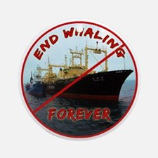 End Whaling Forever Round Ornament