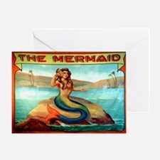 Vintage Mermaid Carnival Poster Greeting Card