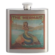 Vintage Mermaid Carnival Poster Flask