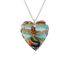 Vintage Mermaid Carnival Post Necklace Heart Charm