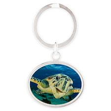 Sea Turtle Soar Oval Keychain