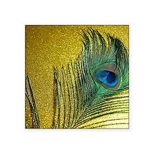 """Glittery Gold Peacock Square Sticker 3"""" x 3"""""""