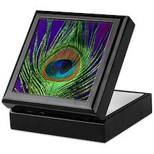 Purple Foil Peacock Keepsake Box