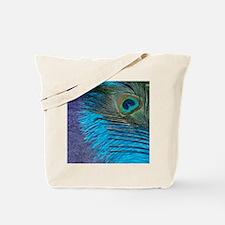 Purple and Teal Peacock Tote Bag