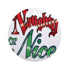Christmas Naughty or Nice Cartoon L Round Ornament