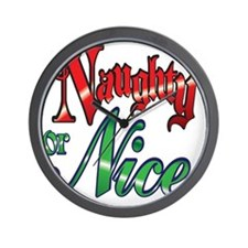 Christmas Naughty or Nice Cartoon Lette Wall Clock