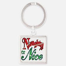 Christmas Naughty or Nice Cartoon  Square Keychain