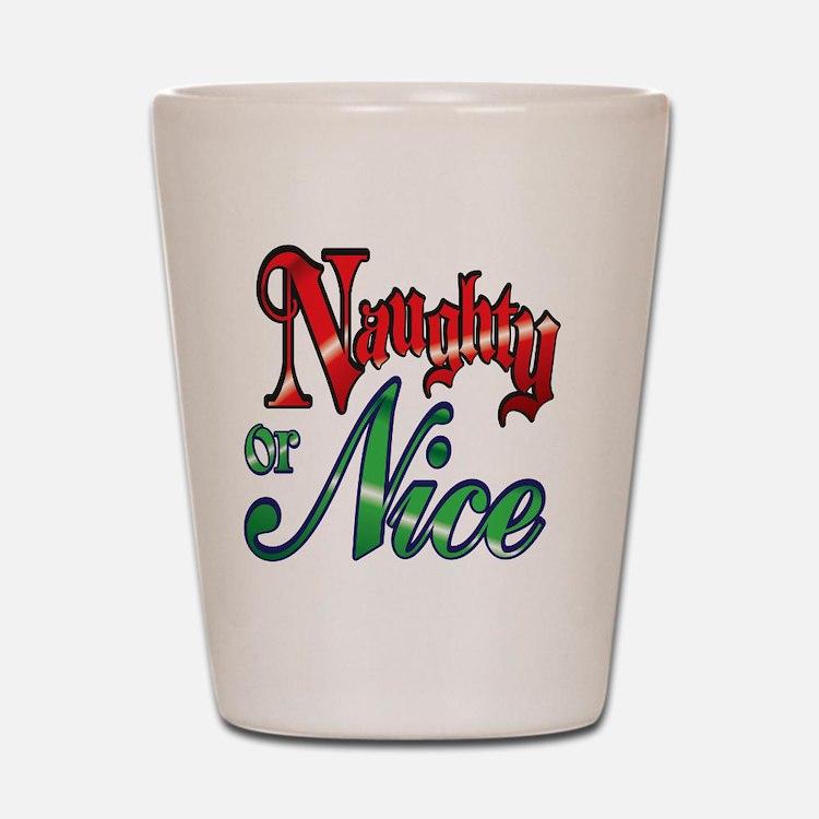 Christmas Naughty or Nice Cartoon Lette Shot Glass