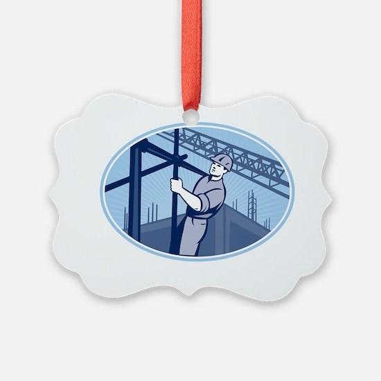 Construction Worker Scaffolding R Ornament